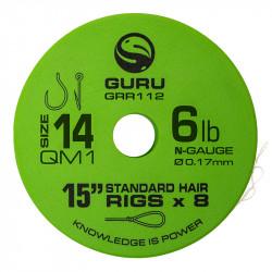 "Przypony Guru Standard Hair Rigs - QM1 - 15""/38cm - roz.14 // 0.17mm"