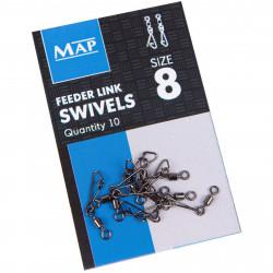 Agrafki z krętlikami MAP Feeder Link Swivels - roz.8