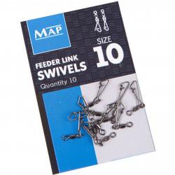 Agrafki z krętlikami MAP Feeder Link Swivels - roz.10
