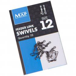 Agrafki z krętlikami MAP Feeder Link Swivels - roz.12