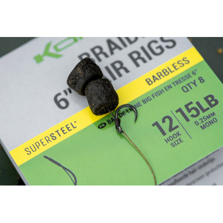 "Korum Braided 6"" Hair Rigs Big Fish BARBED 15cm"